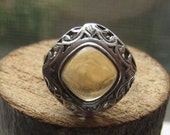 Victorian Style Vintage Sterling Silver Classy Ladies Womens Ring with Citrine Color Stone Size 7