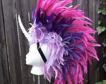 Unicorn Headdress- Horse Mane, Feather Mohawk, Unicorn Mane, Unicorn Horn, Costume, Halloween