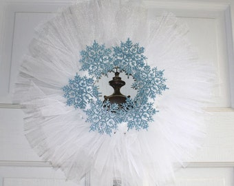 Snow Queen Wreath White Tulle Tutu Wreath Door/Wall Decor Blue Sparkly Snowflakes Cottage Chic Holiday Home Decor