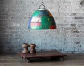 SALE SmalI Industrial Rustic Hanging Multi-Color Reclaimed Iron Light Fixture Lamp Shade Pendant