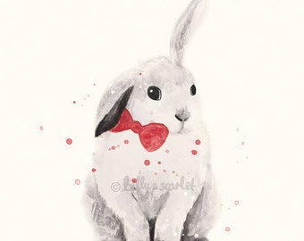 Rabbit Print - 8x10 / A4 Art Print of Bunny Rabbit with Red Bowtie, Ink and Watercolour Illustration