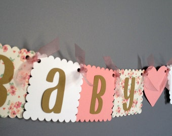 Baby Shower Banner - Rustic Shabby Chic Girl Baby Shower - Baby Girl - Brown Pink White