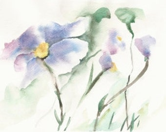 """Violet Impressions, a 5""""x7"""" print of a watercolor abstract of Violets, printed on 8""""x10"""" paper"""