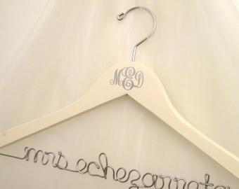 Interlocking Monogram Personalized Bridal Hanger - Custom Made For Bride's Dress, Wedding Initials, Bridal Colors