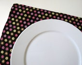 Pair of Reversible Placemats: Be Green Recycle trees and Dots on Black