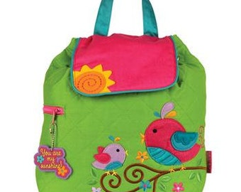 SHIPS NEXT DAY--Personalized Monogrammed Stephen Joseph Quilted Toddler *New Pattern* Bird Backpack--Free Monogramming--