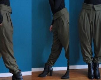 high waist wide pants // olive green // linnen trousers