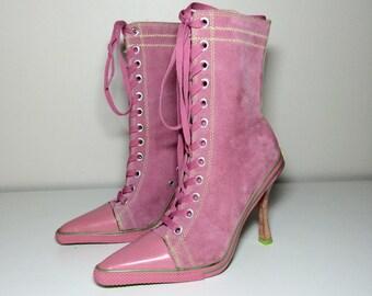 90s pink suede sneaker heels size 7