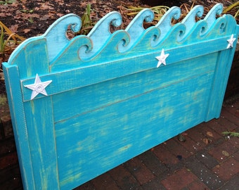 Waves Headboard Queen Size Beach House Furniture Decor by CastawaysHall - Assemble Yourself