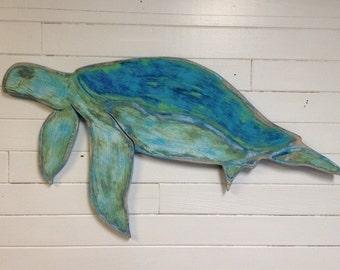 Sea Turtle Sign Wall Art Honu Tortoise Beach House Coastal Living Decor by CastawaysHall