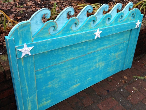 Waves Headboard Queen Size Beach House Furniture By
