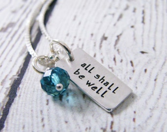 all shall be well hand stamped word tag sterling silver necklace small