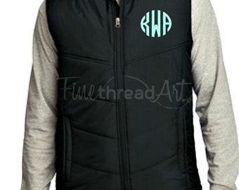 Unisex Monogram Puffy Vest with Pockets Zip Up Layering Piece Plus Size Available 3X 4X