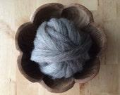 Wool roving supply for needle felting, Grey-Brown Heather, 1 ounce, grey wool roving for felting, grey roving for feltmaking, felting supply