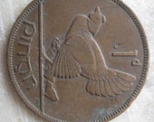 1935 Ireland, 1 Pingin Bronze Coin, Clairseach and Hen with Chicks