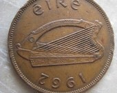 1962  Ireland, 1 Pingin Bronze Coin, Clairseach and Hen with Chicks