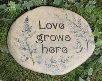 Love grows here garden sign, Garden decor. Outdoor Art. Natural terracotta clay pottery, ceramic plaque. Garden message carved words