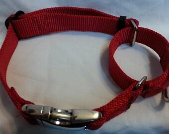 Large Martingale Dog Collar METAL BUCKLES 22 to 34.5 USA Made