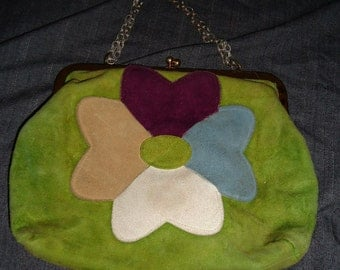 Groovy Flower Power Vintage 1960's Suede Leather Hippie Purse