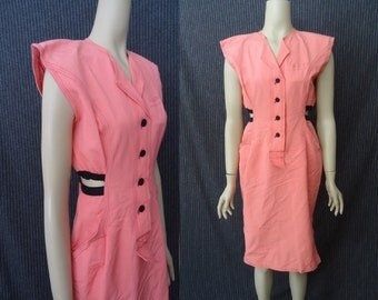 CUT OUT Coral New Wave Vintage 1980's Womens Hourglass Designer Dress M L