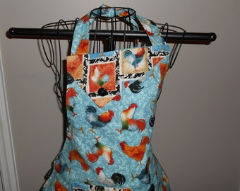 Roosters and Rooster Block Women's Apron