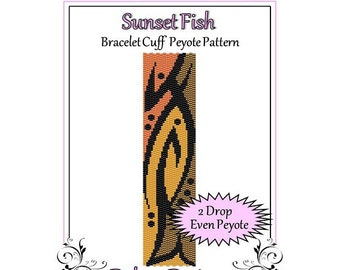 Bead Pattern Peyote(Bracelet Cuff)-Sunset Fish
