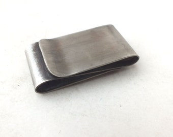Double Money Clip  in Nickel  Silver ---Antique Finish with Smooth Finish
