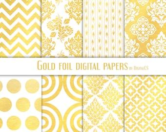 Gold foil digital paper Gold digital paper gold damask digital paper Gold wedding digital paper Gold paper Printable paper