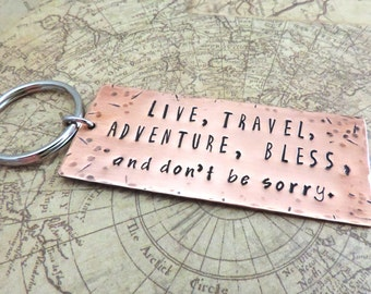 Live Travel Adventure Key Ring, Jack Kerouac Quote, Copper Keychain, Stamped Metal