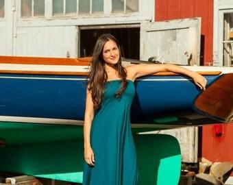 Ocean Bandeau Maxi Dress in Dark Teal Bamboo/Organic Cotton/Spandex Jersey Knit