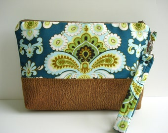 Clutch Bag/Cosmetic Clutch /Zipper Clutch / Make Up Bag / Cotton Clutch / Vegan Leather /Teal Lime Green/ Cosmetic Bag/Made To Order