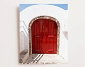 Red Door Photograph - Photos of Doors - Cherry Red Decor - Santorini Greece Print - Greek Wall Art Fire Red White Candy Cane Colors
