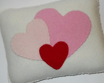 Heart Pillow - Small Wool Throw Pillow - Red Hearts  - Novelty Throw Pillow - Valentine Decor