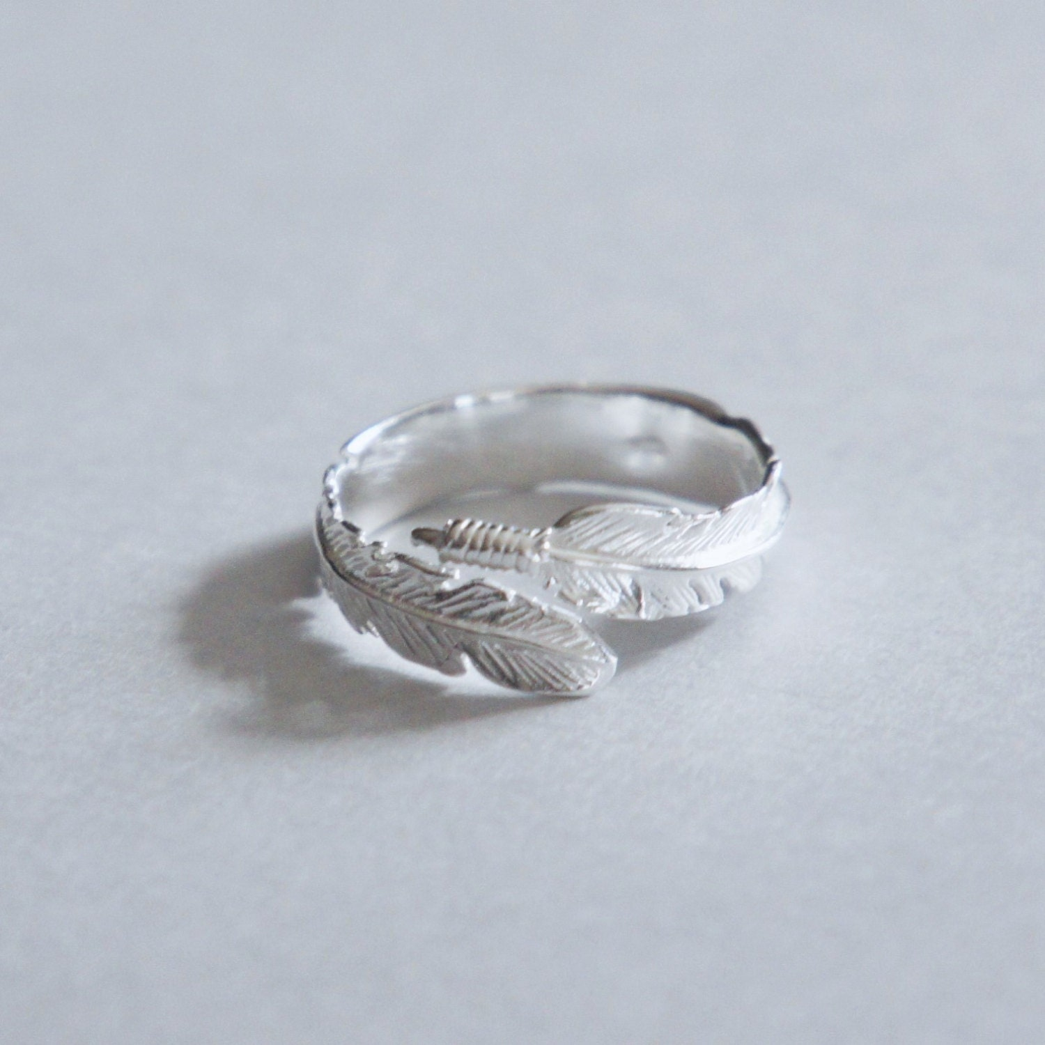feather ring sterling silver adjustable ring wrap ring