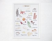 Spices Kitchen Art - 8x11 Watercolor Culinary Spices Print - Food Poster / Kitchen Decor