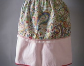 Vintage 50s Pink Apron - Paisley and Lace Design Reversible Apron - Hostess Half Apron