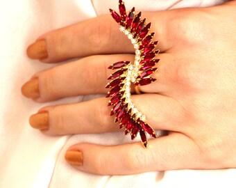 Statement Ring,Swarovski Cocktail Ring,Ruby Swarovski Crystal Ring,Swarovski Ring,Bridal Ring,Crystal Statement Ring,Adjustable Ring