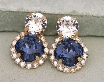 Blue Navy Stud Earrings,Denim Blue Stud Earrings,Swarovski Dark Blue Earrings,Gift for woman,Bridal Blue Earrings,Bridesmaids Blue Earrings