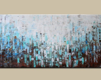 painting ,Acrylic Painting-painting on canvas, Abstract painting,Original Painting, -blue abstract -palette knife texture  dining room decor