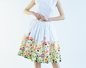 50s Skirt // Wedding skirt// 1950 skirt // Pleated Skirt // Floral Skirt // Plus Size skirt by Mrs Pomeranz