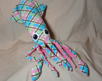 Made to Order Petunia the Pink Plaid Fleece Squid - Stuffed Plush Animal