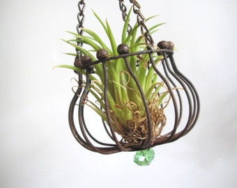 Air plant holder/ wire & beads/ hanging air plant container/ industrial decor