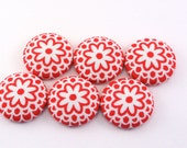 RED Flowers Fabric Buttons / Craft Buttons / Flat Back Buttons /  White / Push Pins / Thumbtacks Office Pretty Office / Bold / Simple 120