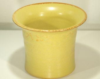 Paint Tube Holder,Yellow Tan, Shino Glaze, Studio Organizer, Ceramic Bowl, 54