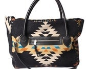 Special while they last! Native American Inspired Wool and Leather Top Zip Tote with Double Handles and Shoulder Strap