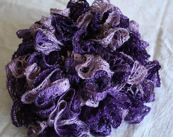 Crochet Purple Ruffle Infinity Scarf