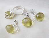 hand wired lemon topaz set ring earrings pendant wire wrapped ckp030 - RESERVED for Melissa Luizza