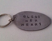Upcycled Repurposed Spoon Keychain 'Bless Her Heart'