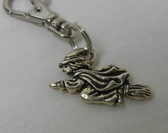 Witch Zipper Pull Backpack Clip Key Fob Silver Purse Charm Flying Broomstick