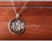 Gold Filled Monogram Hand Engraved Three Quarter Inch Personalized Pendant With Chain